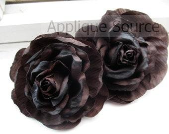Shabby Chic Vintage Look Victorian Silk Rose Flowers x 72 Flowers - Dark Chocolate Brown