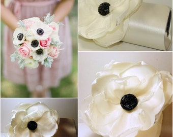 Anemone Flower Bridal Clutch - Bridal Clutch - Custom Clutch - Ivory Shabby Chic Wedding Clutch - Rustic Wedding