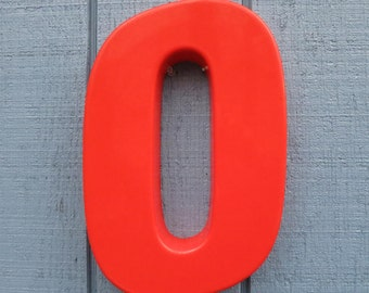 Vintage Red Plastic Letter O or Number Zero