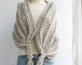 Hand Knitted Beige Rectangle Shawl / Over Size Long Cable Scarf / Winter Knit Accessories / Valentine's day Gift