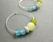 CLEARANCE Hoop Earrings, Aqua, Sky Blue, Soft Yellow and Fresh Green Colors on Silver Hoops, Fresh Colors, E 221