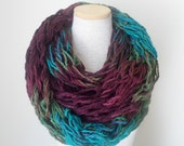 Chunky Knit Cowl - Infinity Scarf in Plum Moss and Teal