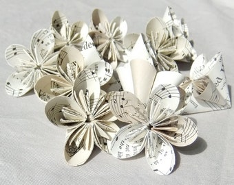 6 Mini Sheet Music Origami Flowers 'Rounded Melody'~Table Decoration Scatter~Origami Flowers~Wedding Table Decor~Vase Filler~Paper Flowers