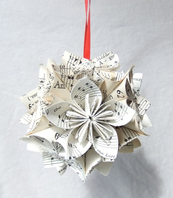 Worthy Sm Origami Ornament Upcycled Sheet Music Ornament Music Decor