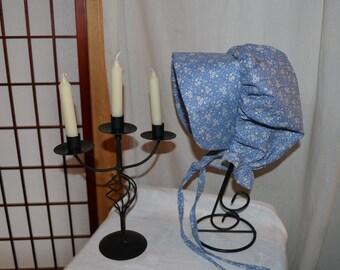 Calico Print Colonial Bonnet Womens or Girls Hat Bonnet
