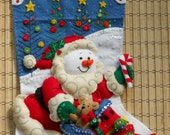 Completed Bucilla Snow Santa Christmas Stocking