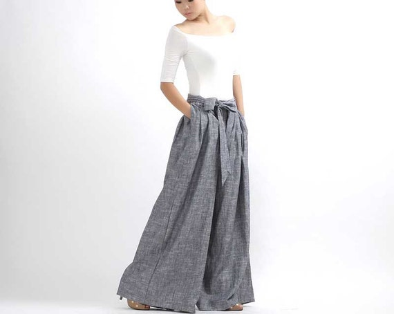 Linen pants Wide Leg Pants palazzo pants pleated pants by xiaolizi