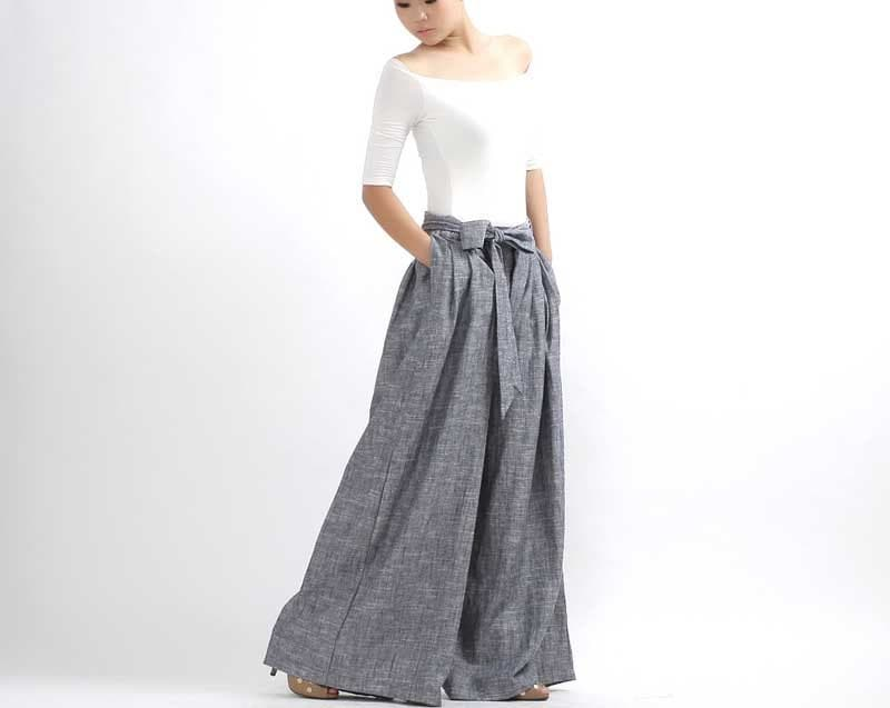 Linen pants Wide Leg Pants palazzo pants pleated pants