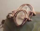 Dangle copper earrings with herringbone framed rose quartz  stones - Rose quartz earrings - Stone earrings - ER069