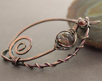 Handmade russet  blush shawl pin or scarf pin in swirly ornate design with lampwork glass bead - Copper pin - Statement pin - SP035