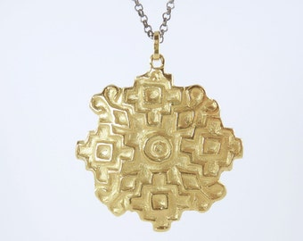 Gold Carved Medallion Necklace, aztec tribal motif, carve geometric pendant, long medallion