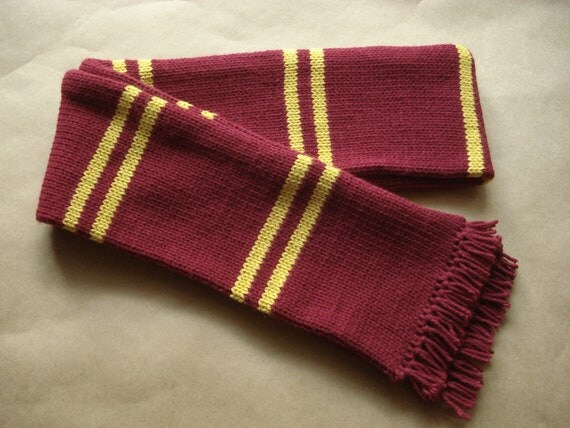 Harry Potter Scarf Maroon And Gold Third Year Style Knitted