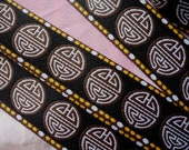 2 yds, 1 inch wide Brown and White Vintage Classic Sign on Black Jacquard Ribbon
