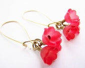 Blooming Beautiful - FREE SHIPPING WAI - Trio of Red Flowers on Long Brass Kidney Wires - Autumn - Winter - Bridesmaids - Affordable Gifts