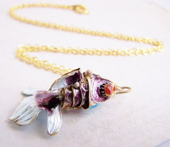 Japanese Koi Necklace - Beautifully detailed cloisonne koi on 17 inch gold chain - beach inspired treasures - fall fish art cat - free ship