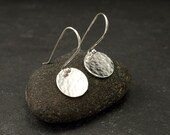 Sterling Silver Hammered Disc Earrings- Simple Silver Earrings- Everyday Dangle Earrings- Small Disc Earrings