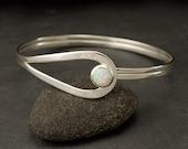 Sterling Silver Opal Bracelet- Sterling Silver Latch Bracelet- Silver Bracelet- Handmade Cuff Bracelet Silver- Opal Jewelry