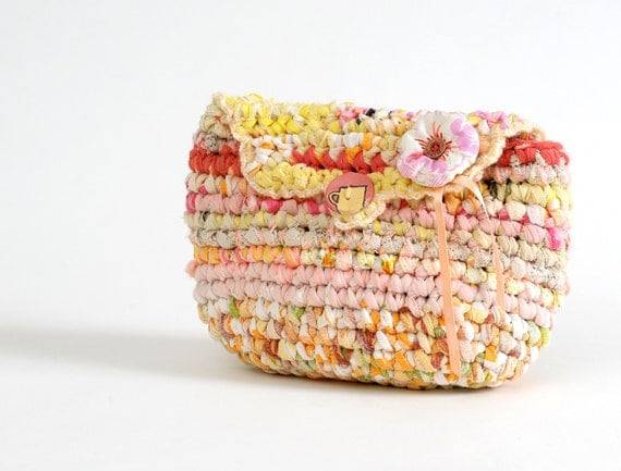 Pastel Colors Crocheted Rag Clutch  ......... OOAK ............... Romantic ......... Shabby Chic