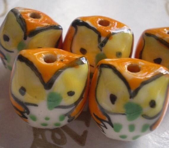 5 pcs ORANGE with YELLOW Eyes Porcelain Fat OWL Beads