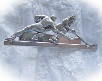 HOCKEY Tie Bar - Hockey Tie Clip - Hockey Tie Clasp - Antique Silver - Hockey Team - Sports Tie Clip - Limited Edition - Last Ones