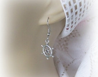 SHIPS WHEEL Earrings - Petite Silver Ship's Wheel - At the Helm - Nautical - Boating - Maritime
