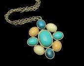 Vintage Turquoise Necklace, Vintage Necklace, Faux Turquoise Blue Tan, Retro Pendant Goldtone Chain Pop Art, Goldtone Chain, Turquoise