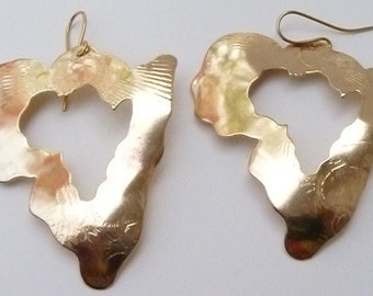 Afrocentric Jewelry Map Of Africa Brass Earrings