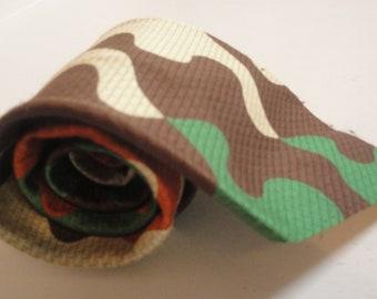 Mens Vintage Necktie Camo Puzzle Pieces Chocolate Brown Orange Green Beige