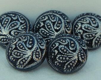 Tiny Loopy Flowers Czech Glass Button (5)
