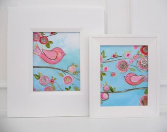 sweet emma bird collection, 8x10 posh prints, acrylic and collage wall art poster
