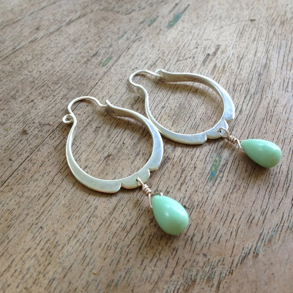 sterling silver petal hoops with variscite drops