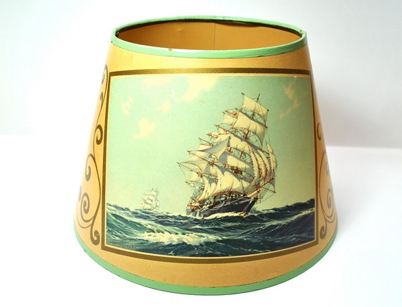 Vintage nautical lampshade 1940s with schooner sailing ship