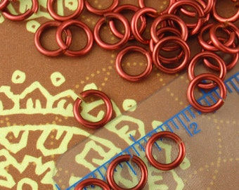 100 Custom Handmade Burgundy Enameled Coated Copper Jump Rings 16, 18, 20, 22 or 24 gauge - 100% Guarantee