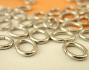 50 Stainless Steel OVAL Jump Rings -  You Choose 18, 16, or 15 gauge - Best Commercially Made - 100% Guarantee