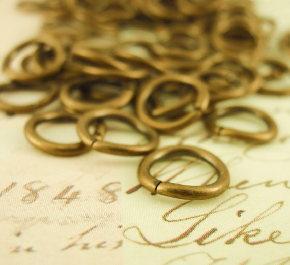 Half Price Sale 100 Antique Gold Jump Rings - 16 gauge 8mm OD - Best Commercially Made