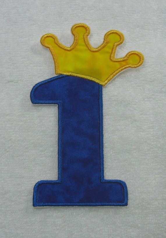 Birthday Number 1 with Crown Fabric Embroidered Iron On Applique Patch