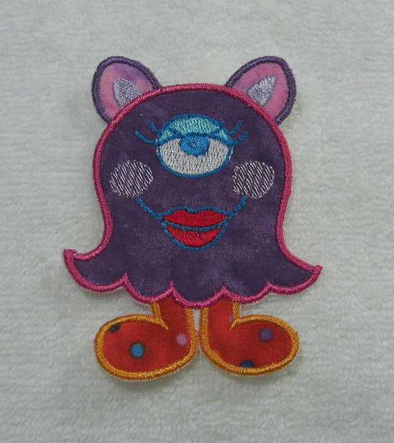 One Eye Monster Girl Fabric Embroidered Iron On Applique Patch