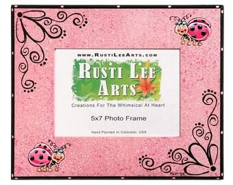 PINK Ladybug Picture Frame 5x7