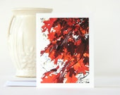 Autumn Photography Note Card Red Oak Fall Leaves blank stationery brown rustic tree branch fine art nature photo stationary notecard
