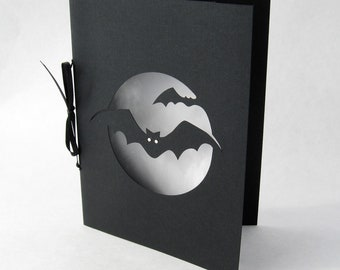 Bat Halloween Silhouette Cut Paper Greeting card