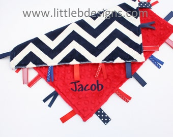 Navy Blue and Ivroy Chevron Minky with Red Tag Blanket  Ribbon Lovey - Personalized