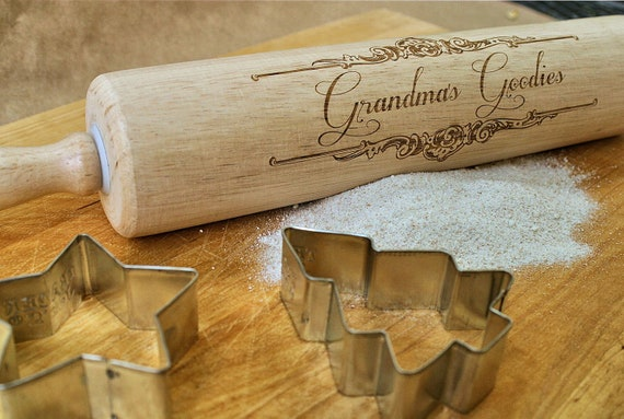 Personalized Rolling Pin Gifts For Grandma Engraved Wooden Rolling Pin Baking Gift Kitchen