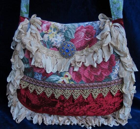 Vintage Velvet Chenille and Barkcloth Rose Carpet Bag