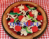 Build It Yourself - Felt Food By The Slice - Pepperoni Pizza with the Works - Thin Crust - ONE SLICE