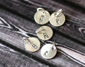 Initial Charm, Sterling Silver Add On Custom Monogram Hand Stamped Disc
