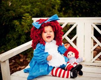 Adorable Custom Raggedy Ann Doll Baby Ragdoll Costume Dress & Bow Dress Up Pageant Halloween