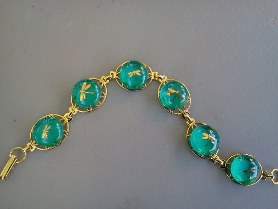Fused Glass Bracelet, 22 Karat Gold Dragonfly's on Teal Glass, Gold Plated Bracelet, SRAJD