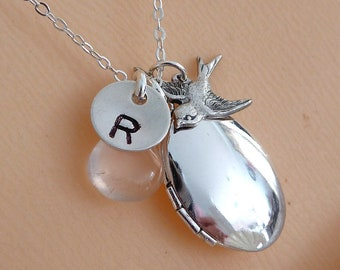 Custom Initial and Stone - Oval Locket, SS Initial Disk, Sparrow Bird, Blue Quartz Necklace in Sterling Silver Chain