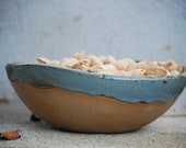 Ceramic Serving bowl - Handmade pottery - Blue pottery - Handmade ceramics - Rustic modern bowl - Farmhouse pottery - Salad bowl