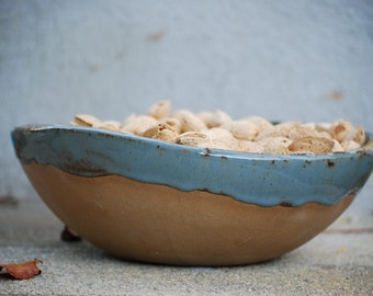 Ceramic Serving bowl - Handmade pottery - Blue pottery - Handmade ceramics - Rustic modern bowl - Farmhouse pottery - Salad bowl
